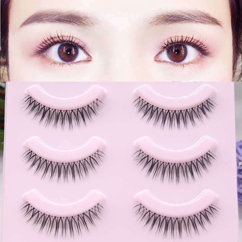 YOKPN Japanese Natural False Eyelashes Hand-grinding Eyelashes Transparent Stem Nude Makeup Eyelash Big Eyes Cute Girl 5 Pairs