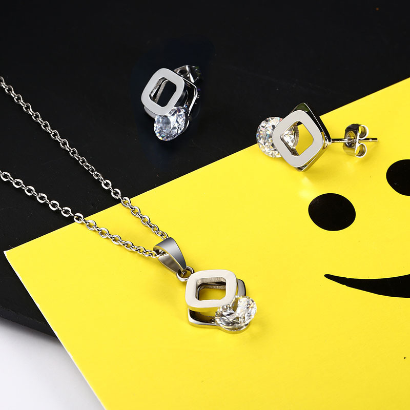 Elegant Tiny Cubic Zirconia Necklace Stainless Steel Sparkly Bridal Stone Necklace Wedding Engagement Jewelry Sets Bijoux Femme in Jewelry Sets from Jewelry Accessories