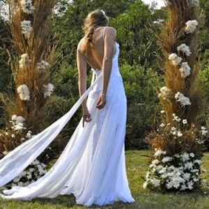 Image 2 - Пляжное свадебное платье, Прозрачное Платье De Mariee, сексуальное шифоновое платье с разрезом, свадебное платье в стиле бохо на тонких бретелях, 2019