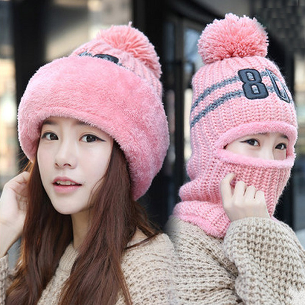 Big Pompom Ball Knitted Hat Women Windproof Ear Flaps Thick Velvet   Skullies     Beanies   pink Bib Winter Warm Caps Ladies Drive Wear