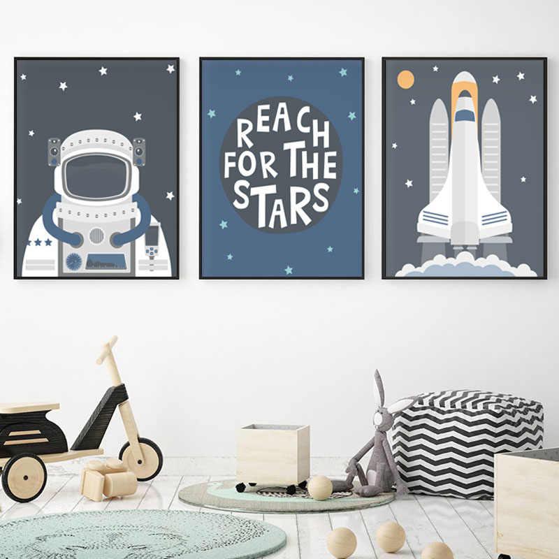 Astronot Uzay Araci Posterler Duvar Sanati Tuval Yagliboya