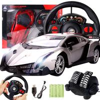 1set Simulation Game Steering Wheel 1:12 Gravity Sensing Four Way Remote Control Toy Car+ Steering Wheel+Pedal Kids Gamepad Toys