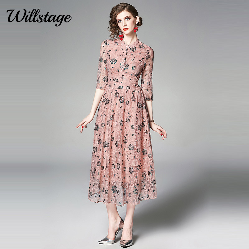 Willstage 2019 Summer Dress Pink Lace Rose embroidery Floral Women Dresses Party Elegant Vintage Midi Vestidos Clothes Female
