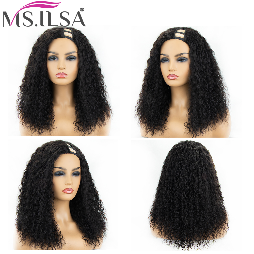Curly U Part Wig Brazilian Remy Hair Wigs For Black Women 150 Density Left Part U Part Wig Human Hair Full End MS.ILSA