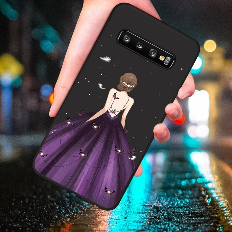 Luxury Dress Case For Samsung Galaxy S10 Shockproof Silicone Bumper For Galaxy S10 Plus S8 S9 Plus A6 A7 A8 J8 Note 9 A50 Cover in Fitted Cases from Cellphones Telecommunications