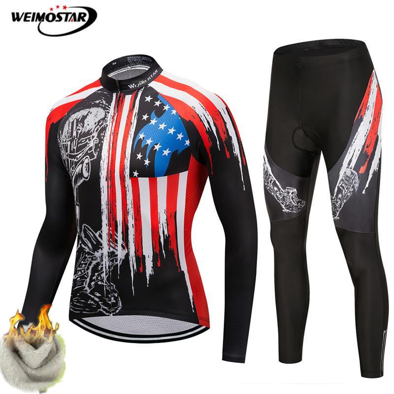 Weimostar maillot de cyclisme ensemble hommes USA Pro équipe hiver cyclisme vêtements thermique polaire chaud vêtements de vélo automne vélo maillot Kit