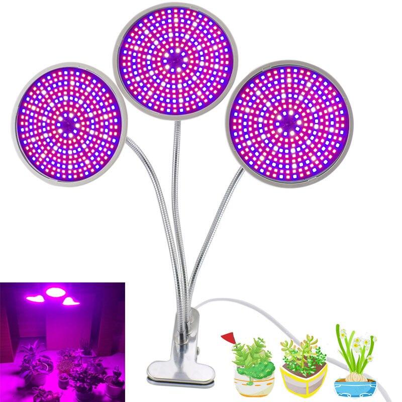 3-tête lampe serre Cultivo graines en croissance lumière cultivbox LED grandir lumière 290 LED spectre complet intérieur hydroponique fleur