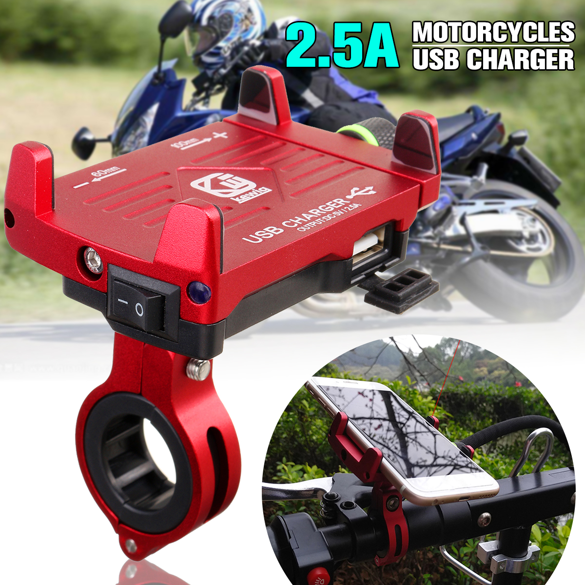 Aluminum USB Fast Charing Charger Motorcycle Phone Holder Stand for Motocycle Bike Handlebar Holder for 3.5''-6.2'' Smartphone