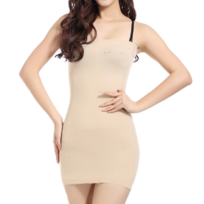 Ladies Strapless Shapewear Tummy Control Slip Tube Mini Dress Full Body Shaper
