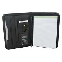 Multifuncional a4 pasta de conferência profissional negócios plutônio couro documento caso organizador saco carteira com calculadora