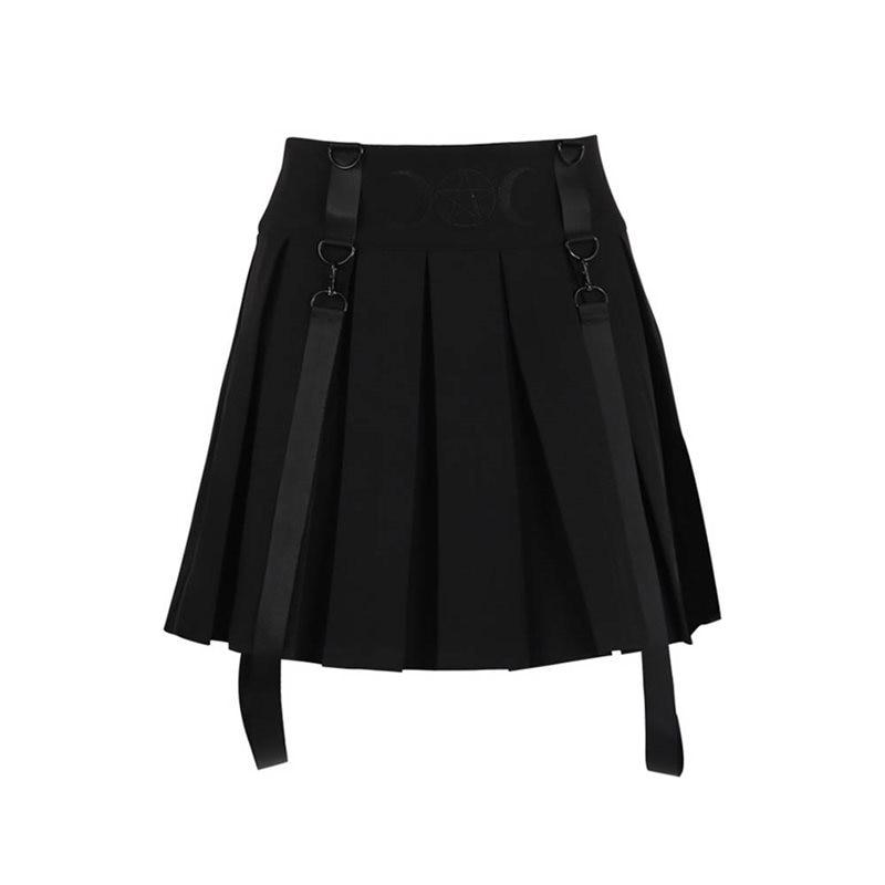 Suspender Pleated Skirt Mini Women Summer Fashion Embroidery Moon Pentagram Goth Girl High Waist Streetwear School Black Skirts