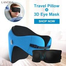 LANGRIA 6-в-1 надолго астронавт памятная пенная подушка для путешествий добавить 3D маска для глаз с отстегивающимся капюшоном Регулируемая шея Размеры подушка