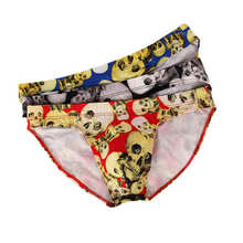 3 Pcs/Lot Mens Printing Underwear Briefs Sexy Mini Bikini Panties Bulge Pouch Triangle Black Underpants
