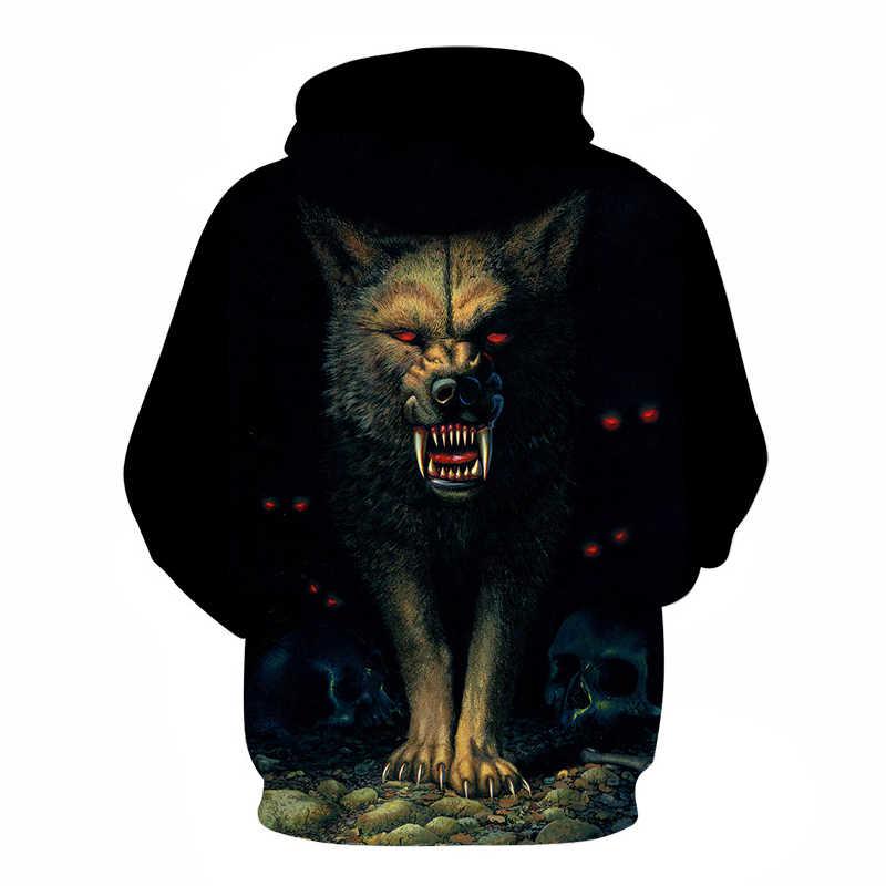 2018 Новый острые зубы волк толстовки уличная Повседневный свитшот, толстовка Для мужчин 3D пуловер спортивный костюм Harajuku в стиле хип-хоп; Прямая поставка