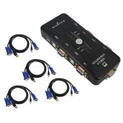 4 порты VGA KVM переключатель Box USB 2,0 SVGA коммутатор с кабели для клавиатуры мышь мониторы портативных ПК компьютеры
