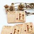 Casamento personalizado salvar os favores de madeira da data, ímãs de madeira, gravados presentes de casamento de madeira para lembranças de casamento dos hóspedes decoração