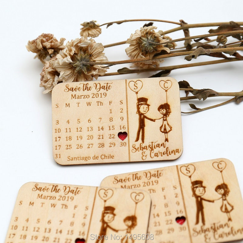 Wedding Date Gift: Customized Wedding Wood Favors, Save The Date Wood Magnets