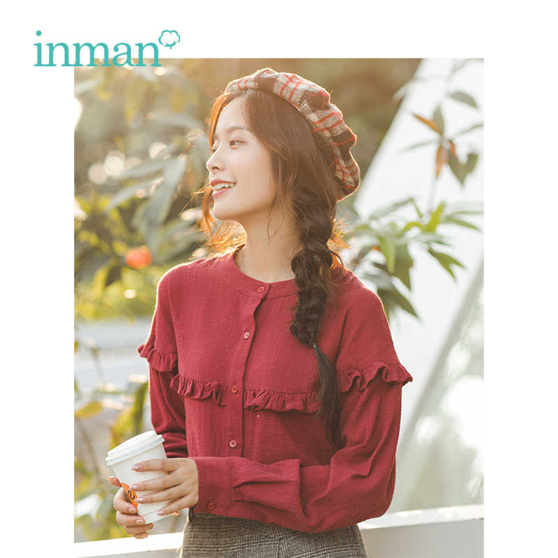 INMAN New Arrival Literary Jacquard Vavy selvedge Button Long sleeves women shirt