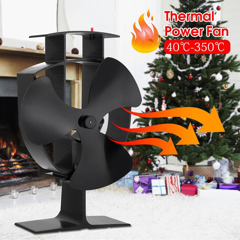 Black 3-Blade Heat Powered Stove Fan Silent Heat Power Fireplace Fan No Electricity Required Thermal Power Stove FanBlack 3-Blade Heat Powered Stove Fan Silent Heat Power Fireplace Fan No Electricity Required Thermal Power Stove Fan