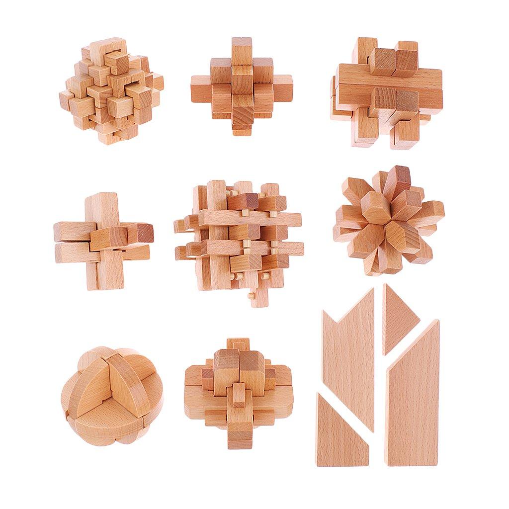 10 pièces En Bois Puzzle Serrures Kong Ming Serrures Test de QI Cerveau Teaser Jouet pour Adultes et Enfants