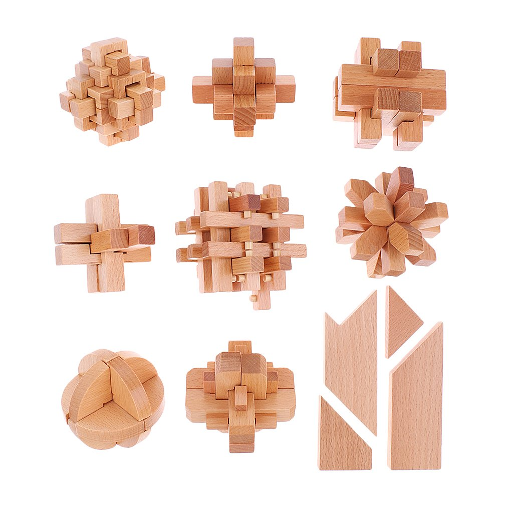 10pcs Wood Puzzle Locks Kong Ming Locks IQ Test Brain Teaser Toy for Adult and Children