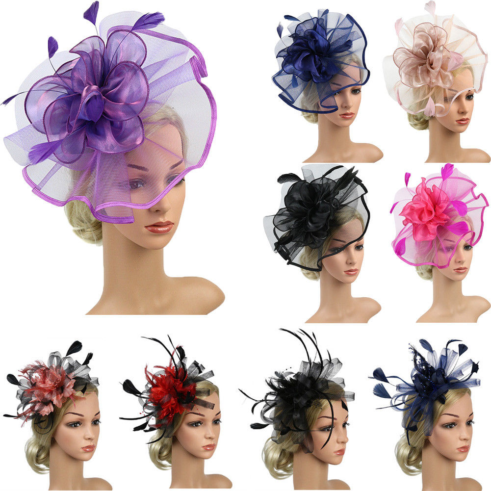Woman Lady Exaggerated Top Hat Mesh Feather Hairpins Female Covering Stage Show   Headwear   Hair Accessory Wedding Party Decor