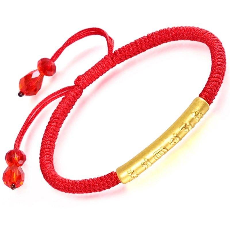 Solide 24 k Gelbgold brassard Buddhistisch Sechs moût Rohr-or Rot Kordel brassard