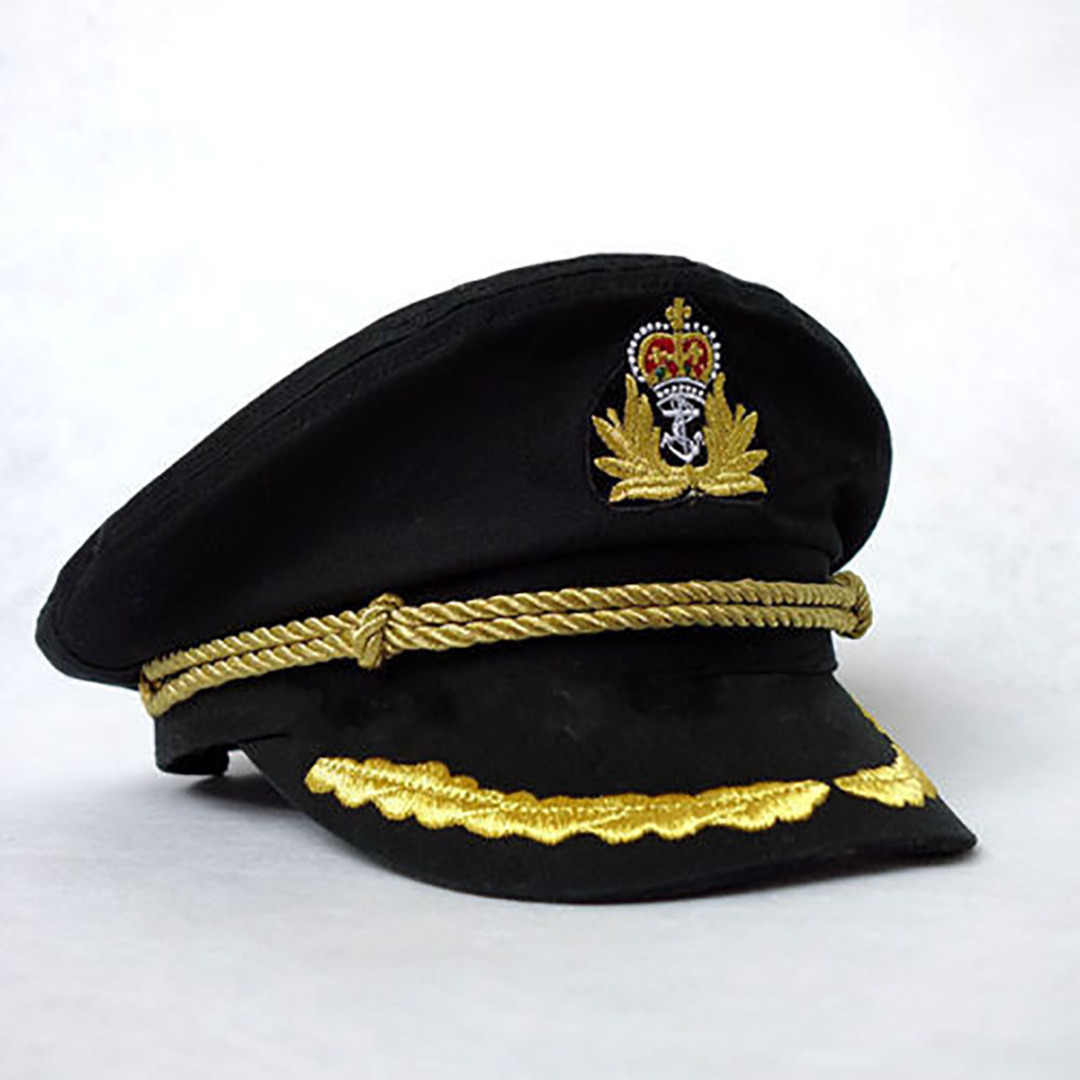 2019 Hats Sailor Captain Hat Black White Uniforms Costume Party Cosplay Stage Perform Flat Navy Military Cap For Adult Men Women