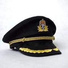 6843ef270f Chapéu de Capitão marinheiro Uniformes Preto e Branco Do Partido Do Traje  Cosplay Stage Execute BBYES Marinha Plana Cap Militar .