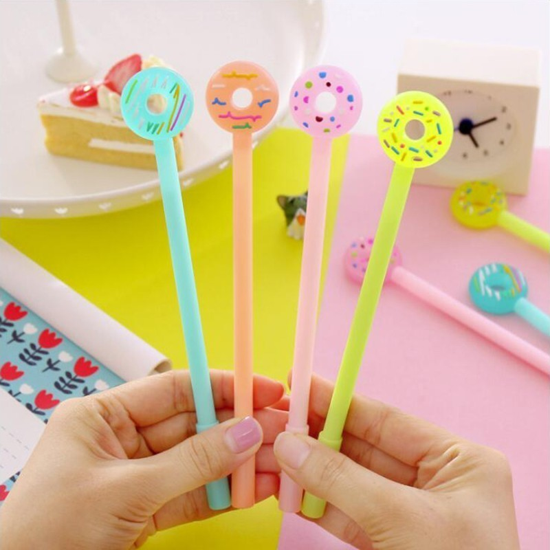 4PCS Small Fresh Jelly Color Donut Shape Gel Pen Black Ink Color High Quality School Student Stationery And Office Supplies Pen