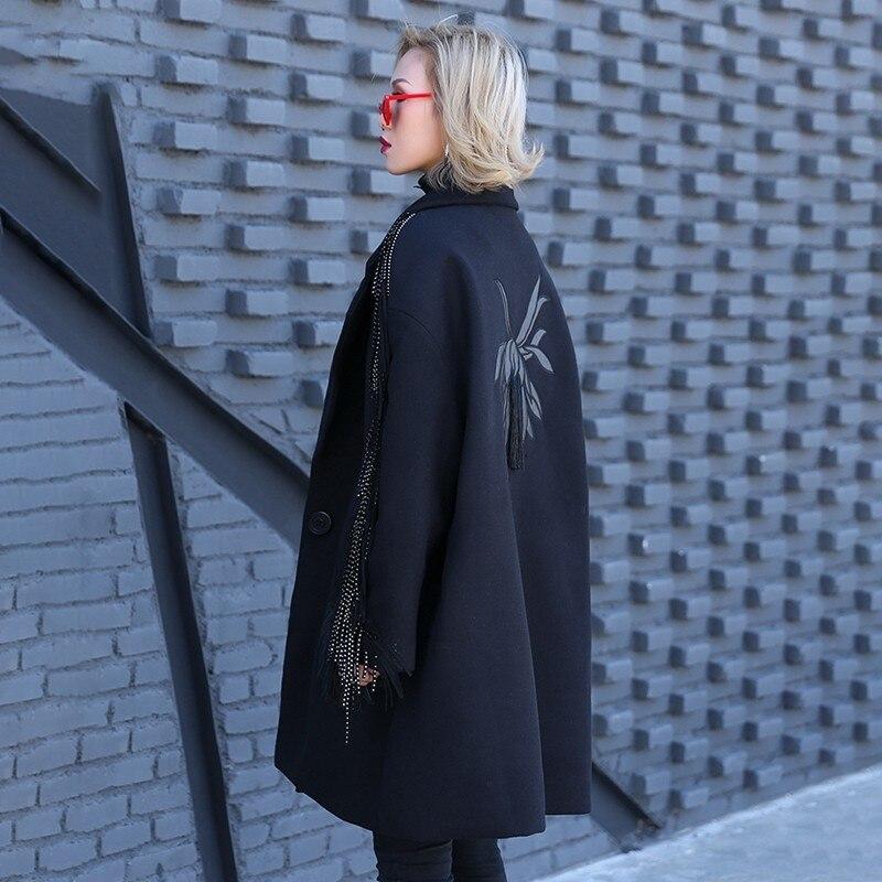 Printemps À Manteau Revers Hiver En Coton Femmes eam Glands Jo018 Noir Black Mode 2019 Laine Nouveau rembourré Broderie Parkas Longues Manches OwIx4XE4