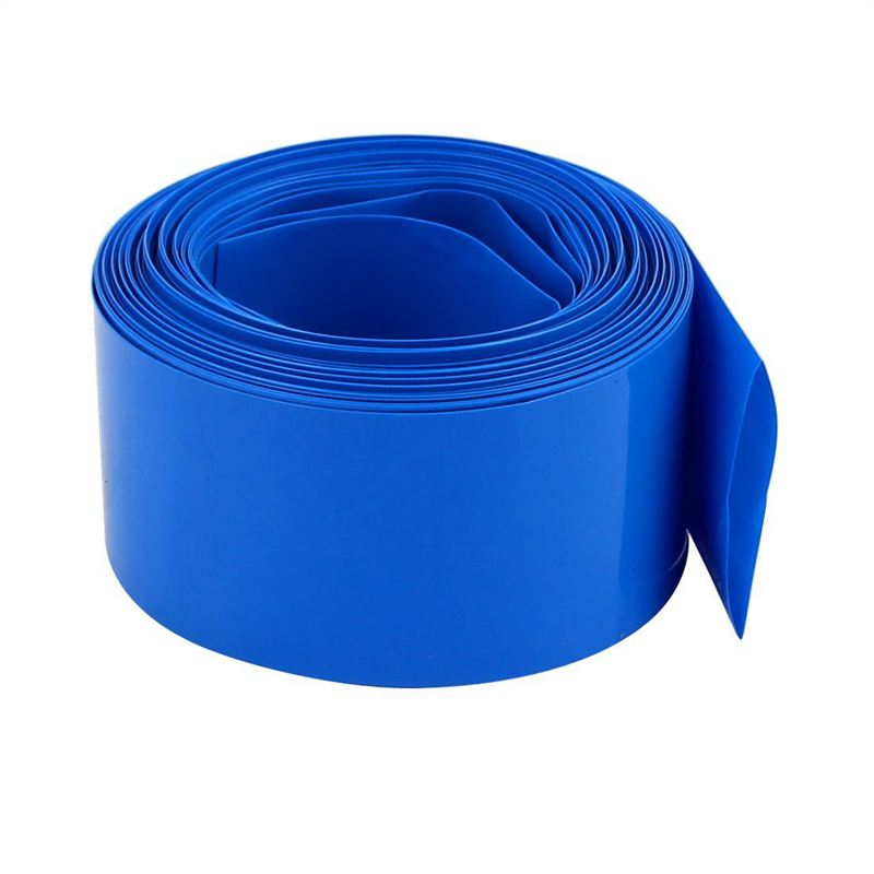 Beautiful 40mm Flat Width 10m Length Pvc Heat Shrink Tube Blue For 18650 Battery Pack Cable Sleeves