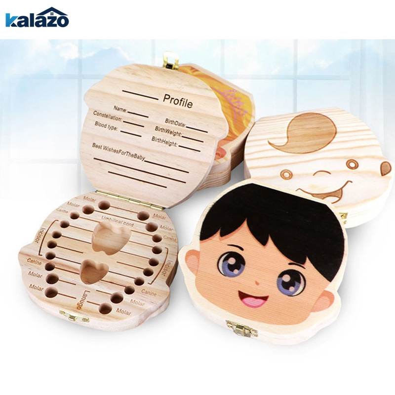 Spanish English Russian Baby Wood Teeth Box Organizer Milk Teeth Storage Collect Teeth UmbilicaSave Cord Lanugo Gift Caja Madera
