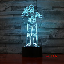Star Wars 3D LED Acrylic Night Light Darth Vader Stormtrooper R2-D2 Robot Master Lamps Cartoon Luminous Baby Lighting AW-1147