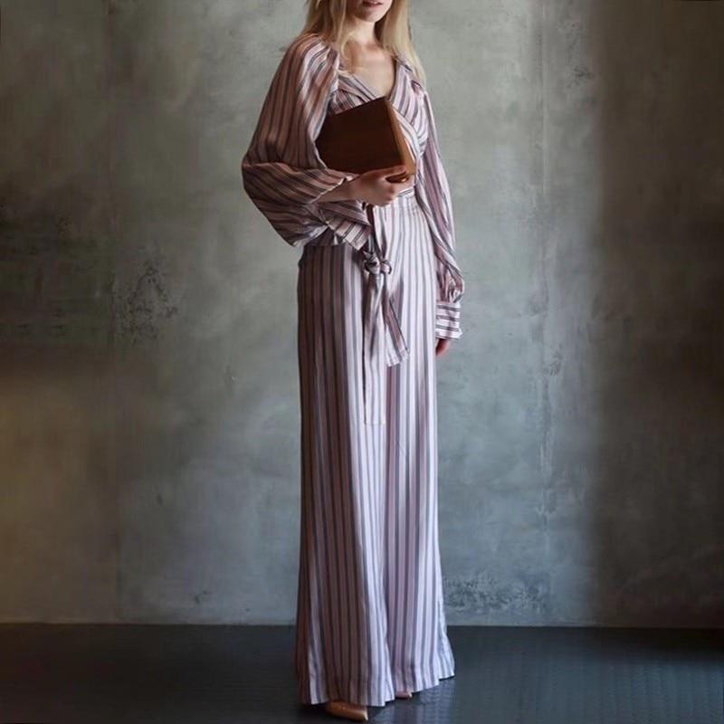 TWOTWINSTYLE Striped Women Suit Lantern Long Sleeve V Neck Bandage Crop Tops High Waist Wide Leg Pants Two Piece Set 2019 Autumn