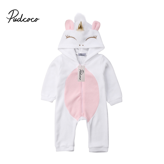 602a3299dfb Newborn Baby Girl 3D Unicorn Flannel Romper Jumpsuit Toddler Kids Hooded  Rompers Winter Warm Overalls Outfit Clothes Playsuit