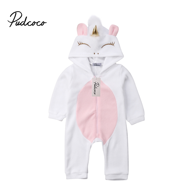 Newborn Baby Girl 3D Unicorn Flannel   Romper   Jumpsuit Toddler Kids Hooded   Rompers   Winter Warm Overalls Outfit Clothes Playsuit