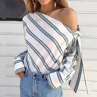 Летняя женская новая полосатая Свободная блузка модная женская с открытыми плечами на шнуровке рубашки женские элегантные топы блузки с дл...