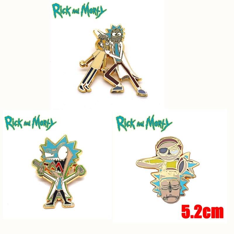 OHCOMICS 3pcs/set Rick and Mori Pickle Rick Badge Enamel Pin Brooch Chestpin Metal Gold Pins Costume Pendant Pins Brooches Gifts