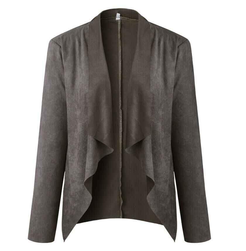 新しいターンダウン襟サッシスエードトレンチコートカジュアル革ロング女性の秋のコート冬暖かい生き抜くオーバー