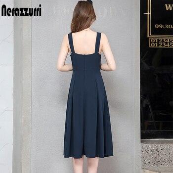 Nerazzurri spaghetti strap backless sexy long dress sleeveless elastic slim button midi dress 5xl 6xl plus size women clothing 2