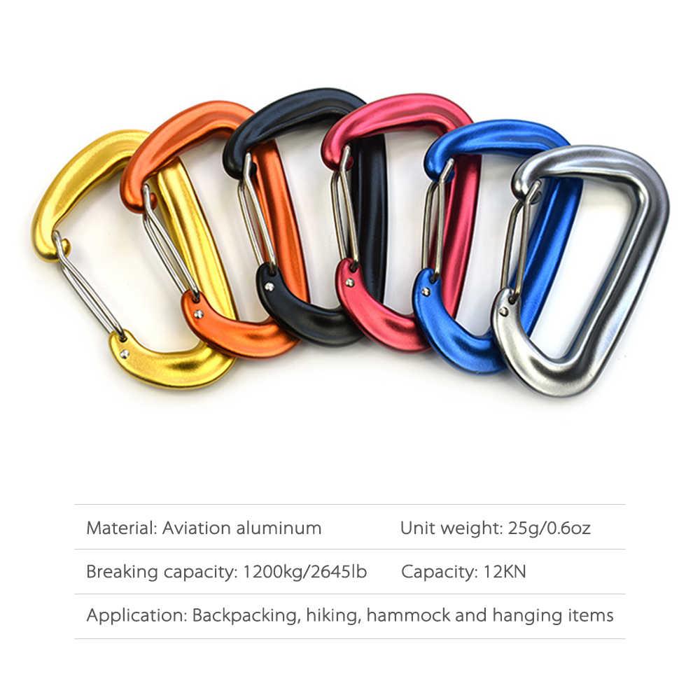 2 шт. высокий спортивный карабин 12KN цепочка для ключей зажим Открытый гамаки для кемпинга крюк Пружинные застежки Путешествия альпинизмом провода карабины