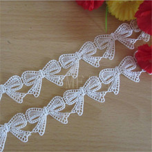 Ribbon-Fabric Craft Wedding-Dress Lace-Trim Crochet Sewing Embroidered Applique Butterfly