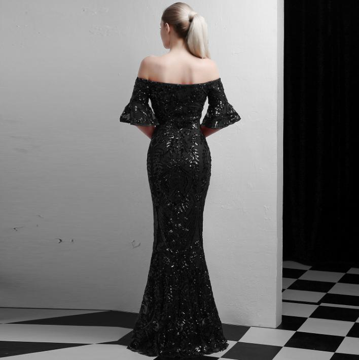 SVKSBEVS 2018 Sexy Deep V Neck Sequined Mermaid Long Dresses Party Off The Shoulder Half Sleeve Backless Maxi Dress in Dresses from Women 39 s Clothing
