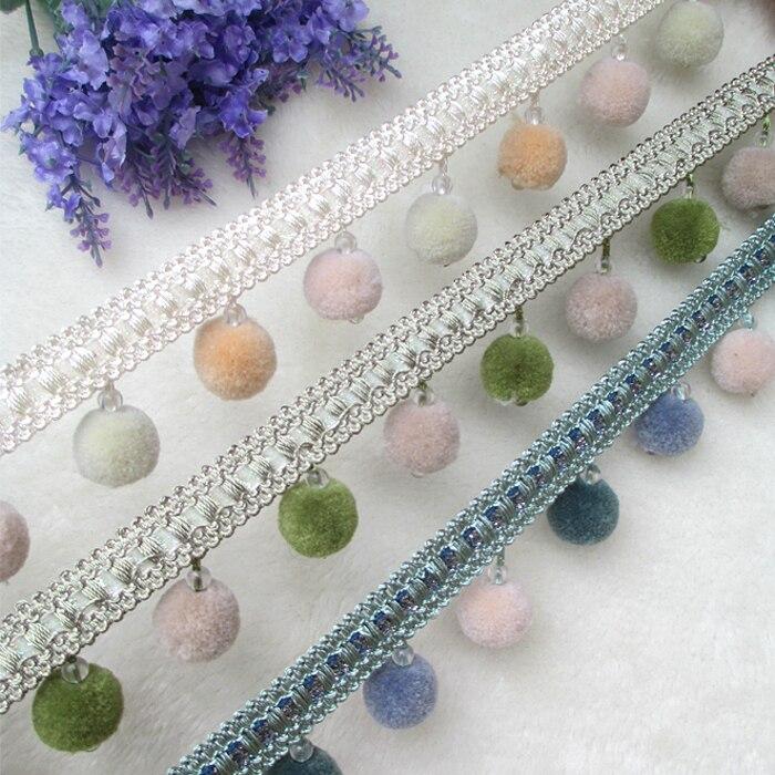 YY-tesco 1Yards/lot 4cm Wide Cotton ball Curtain Lace Fringe Tassel Trim DIY Clothing Skirt Home Textile Decorative Lace Ribbon