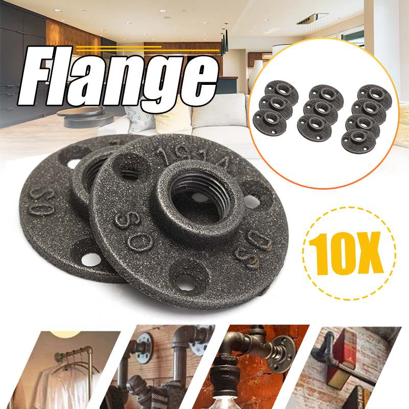 "10Pcs 1/2"" 3/4"" Black Decorative Malleable Iron Floor/Wall Flange Malleable Cast Iron Pipe Fittings BSP Threaded Hole"