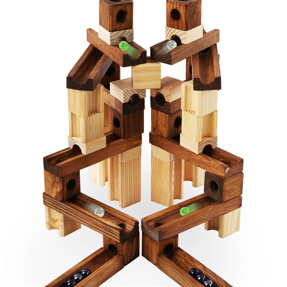 2018 45 pcs/60 pcs Modèle de Bâtiment En Bois Blocs de Construction En Bois Construction Briques D'apprentissage Bébé Jouets Cadeaux Pour Garçon fille