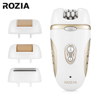 ROZIA HB6007 4 In 1 Electric Epilator Women Shaver Electrical Lady Callus Remover Cordless Rechargeable With 2 Speed 220 240V