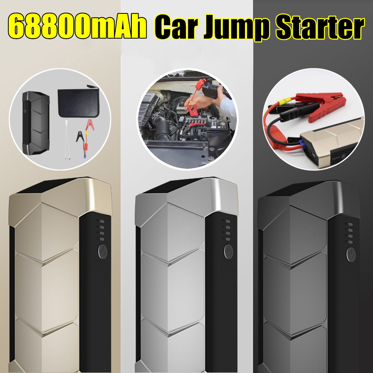 68800mAh Mini Portable 12V Car Battery Jump Starter Auto Jumper Engine Power Bank Starting Up With Smart Clip Data Line with bag68800mAh Mini Portable 12V Car Battery Jump Starter Auto Jumper Engine Power Bank Starting Up With Smart Clip Data Line with bag