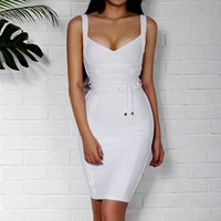 2019 Sleeveless Spaghetti Strap Bandage Dresses Sheath Deep V Backless Bodycon Dress Zippers Sexy Club Party Dress